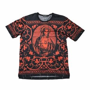 Dolce & Gabbana Virgin Mary Floral Red T Shirt